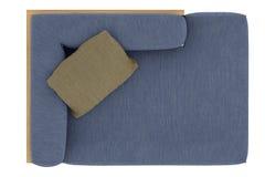 有枕头的蓝色沙发 库存照片