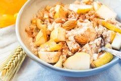 有果子健康早餐的粥碗在晴朗的早晨桌上 免版税库存图片