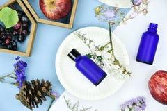 有果子维生素精华成份的,烙记的大模型的空白的标签化妆瓶容器 库存图片
