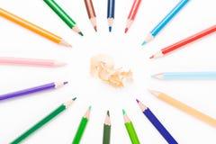 有果皮的色的铅笔 库存照片