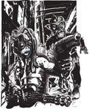 有枪和蛇神的妖怪-徒手画,传染媒介 库存照片