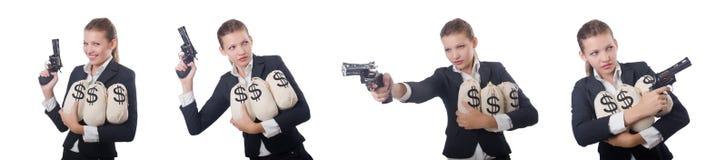 有枪和金钱的妇女匪徒 库存图片