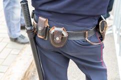 有枪带的,手铐俄国警察开枪 免版税库存图片