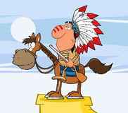 有枪的印第安酋长 免版税库存照片