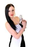 有枪的妇女 免版税图库摄影