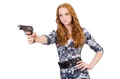 有枪的少妇战士 图库摄影
