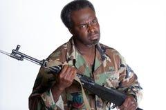 有枪的非裔美国人的人 库存图片