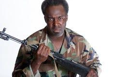有枪的非裔美国人的人 免版税库存图片