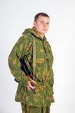 有枪的-卡拉什尼科夫一位战士 库存照片
