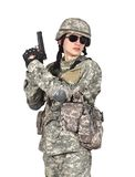 有枪的年轻战士 库存照片