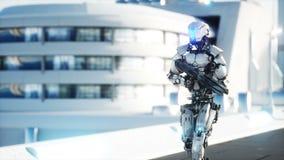 有枪走的军用机器人 未来派城市,镇 现实4K动画 皇族释放例证