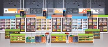 有架子、杂货项目、购物、零售和消费者至上主义概念的超级市场走道 向量例证