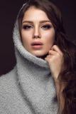 有柔和的构成的美丽的女孩在温暖的毛线衣和长的直发 秀丽表面 免版税图库摄影