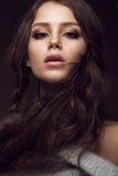有柔和的构成的美丽的女孩在温暖的毛线衣和长的直发 秀丽表面 库存照片