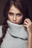 有柔和的构成的美丽的女孩在温暖 库存图片