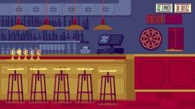 有柜台的酒吧餐馆在平的样式 免版税库存图片