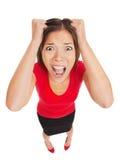 有惊恐的表示的害怕的妇女 免版税库存照片
