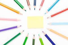 有柱子的色的铅笔 库存照片