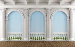 有柱廊的经典室 库存例证
