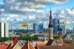 有标志的塔林爱沙尼亚语首都的看法 库存照片