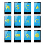 有标志的手机在屏幕上 免版税库存照片