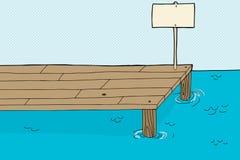 有标志的渔码头 免版税库存图片