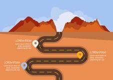 有标志的路,传染媒介infographics模板 免版税库存图片