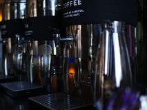 有标签的一咖啡机 库存图片