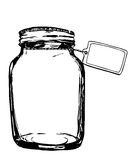 有标签的传染媒介瓶子 设计的手拉的艺术性的例证,纺织品,打印 免版税图库摄影