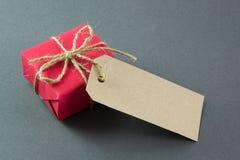 有标记的红色礼物盒 免版税库存照片