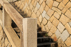 有栏杆的石台阶 库存照片
