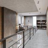 有栏杆的走廊在度假区在仿照顶楼样式的图书馆里 库存例证