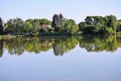 有树反射的美丽的湖 库存照片