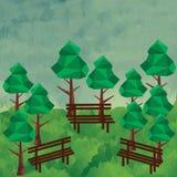 有树和长凳的低多森林 免版税库存图片