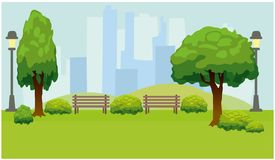 有树和长凳的城市公园 绿色背景 皇族释放例证