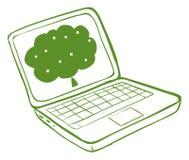 有树的图象的一台绿色膝上型计算机 免版税库存照片