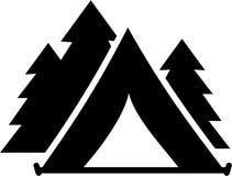 有树的帐篷 库存例证