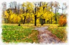 有树的秋天背景美丽的五颜六色的森林风景自然公园在水彩艺术风格样式 图库摄影