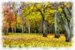 有树的秋天背景美丽的五颜六色的森林风景自然公园在水彩艺术风格样式 库存图片
