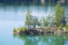 有树的美丽的海岛在一个大湖中间用纯净的绿松石水,夏天 图库摄影