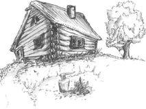 有树的老木村庄房子 免版税库存图片