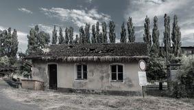 有树的老生锈的房子 库存图片