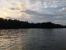有树的闪耀的湖 免版税库存照片