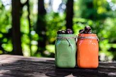 有栗子copyspace的绿色橙色瓶子 免版税库存照片