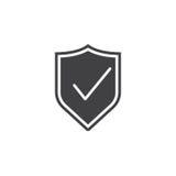 有校验标志象的盾,守卫坚实商标illustratio 免版税库存图片