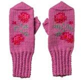 有样式的羊毛桃红色手套 免版税库存照片