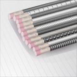 有样式的黑铅笔在线,传染媒介例证的笔记本 图库摄影