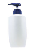 有桃红色分配器泵浦的塑料干净的白色瓶。在白色背景隔绝的例证。 库存图片