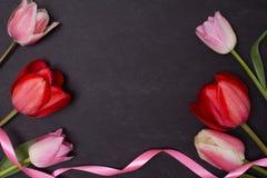有桃红色和红色郁金香的空的干净的黑黑板 顶视图 库存照片