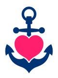 有桃红色心脏的蓝色海洋船锚 免版税库存照片